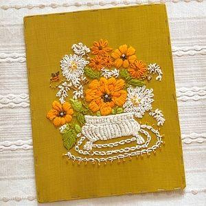 Vintage UnFramed Crewel Yarn Stitched Flowers